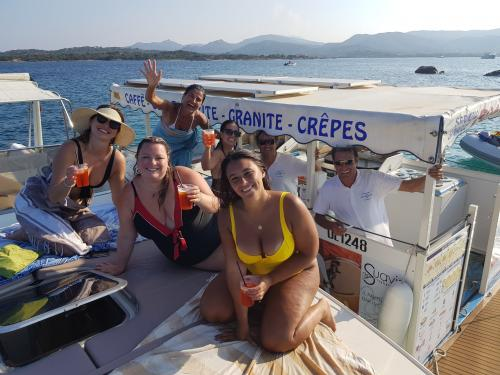 Girls aboard a boat