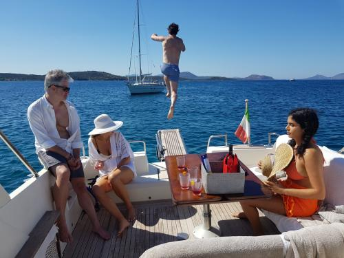Passengers on board a boat in north east Sardinia