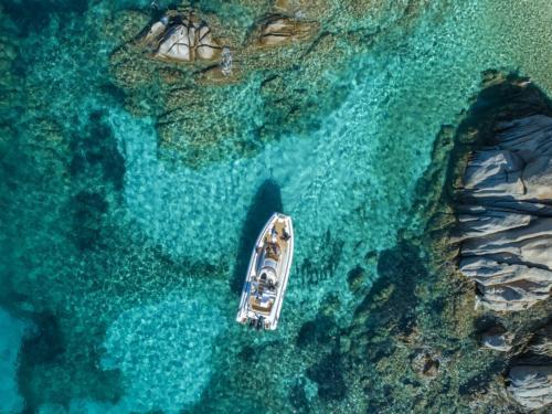 Inflatable boat between the islands of La Maddalena Archipel