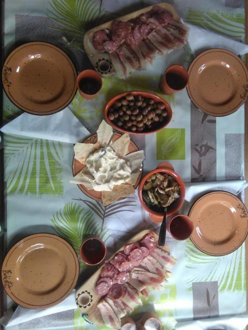 Sardinian aperitif prepared for dinner in the sheepfold