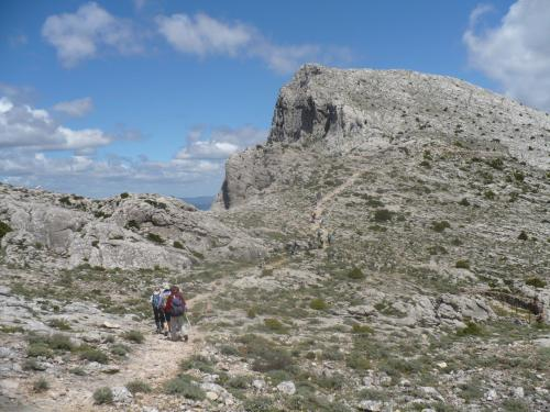 Monte Corrasi and hikers during trekking