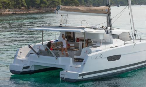 Luxury catamaran and passengers on board