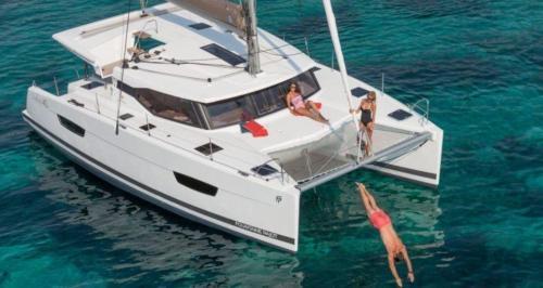 Passengers aboard a luxury catamaran