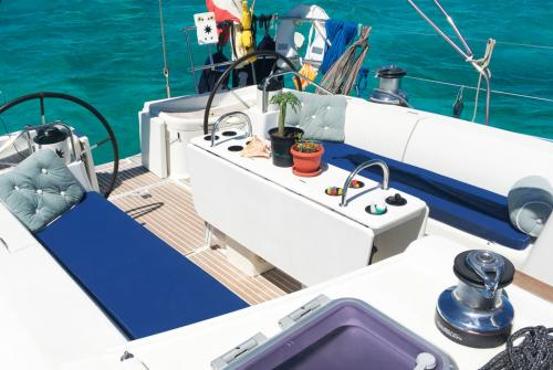 Comfortable sofas on board a sailboat