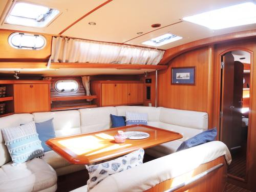 Living room inside a sailboat