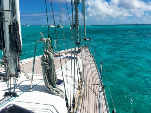 Sailboat during weekly charter