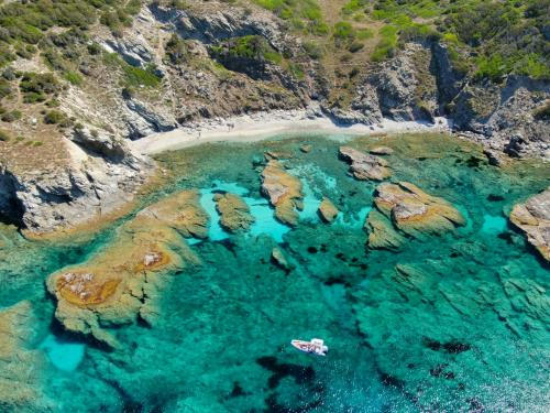 Inflatable boat in the north coast of Sardinia