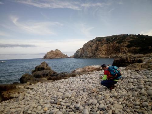 Hiker and pebble beach