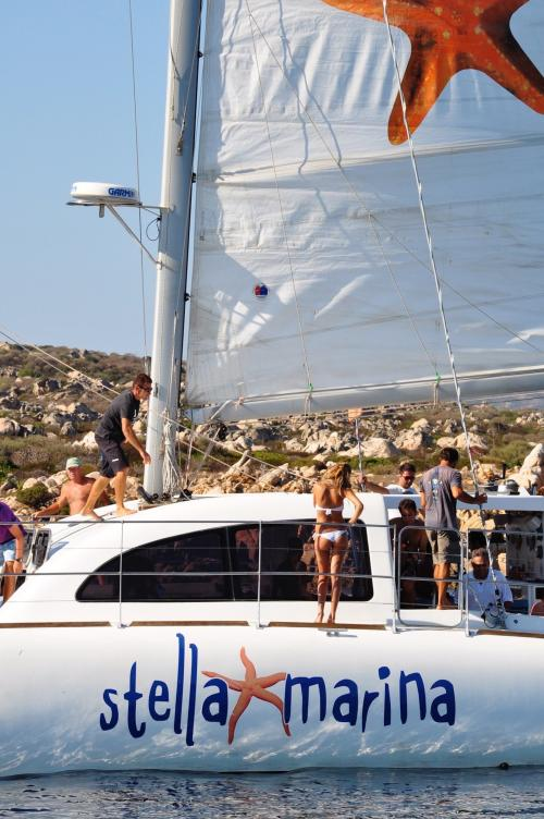 Passengers on board a catamaran
