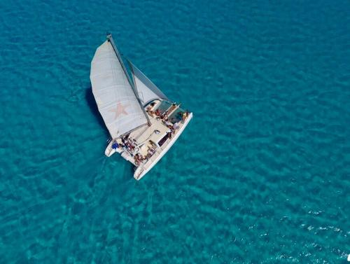 Catamaran in the transparent waters of Asinara