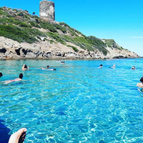 Jungen schwimmen im blauen Meer von Asinara
