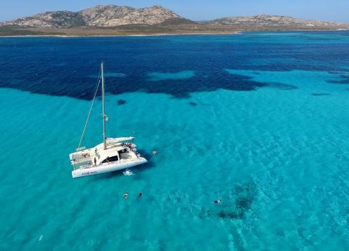 Catamaran sails through the turquoise waters in front of the Asinara
