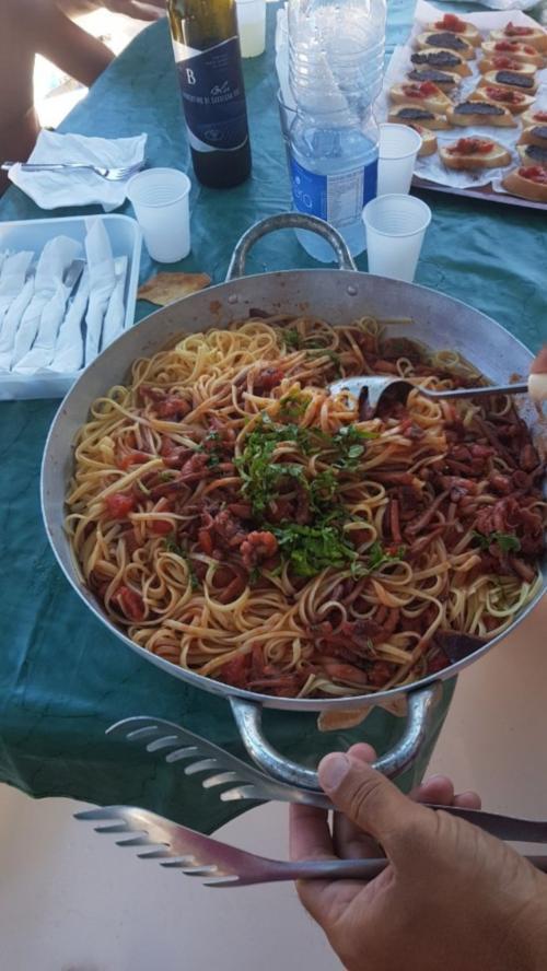 Pasta served on board a catamaran