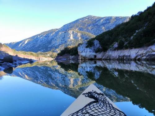 Canoe in the Cedrino river
