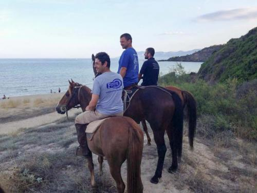 Horse hikers on the beach from behind