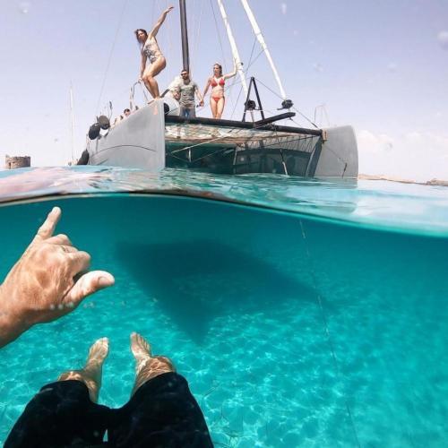 Boys jump from a catamaran to Asinara