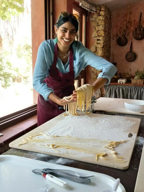 Pasta prepared during a cooking workshop