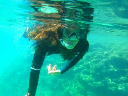 Girl during snorkeling excursion