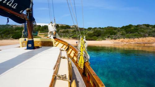 Vintage sailing ship in the La Maddalena Archipelago