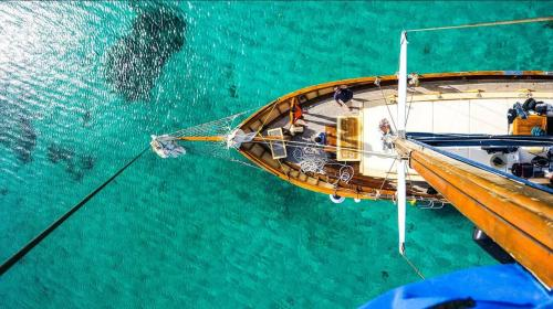 Top view of a vintage sailing ship