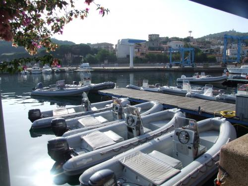 Rubber boats in the port of Arbatax