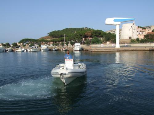 Inflatable boat in Arbatax
