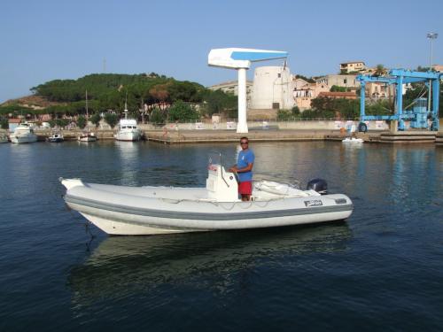 Dinghy in the port of Arbatax
