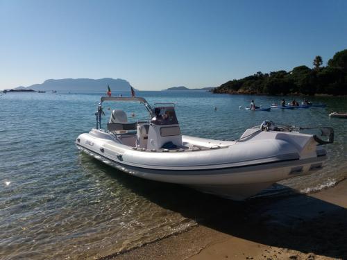 Inflatable boat in Golfo Aranci