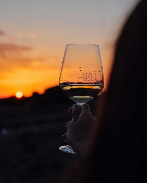 White wine served at sunset during the excursion