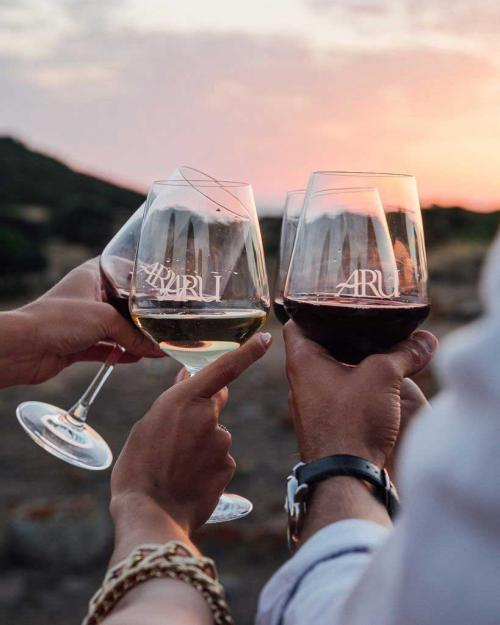 Hikers drink local red wine on a guided hike