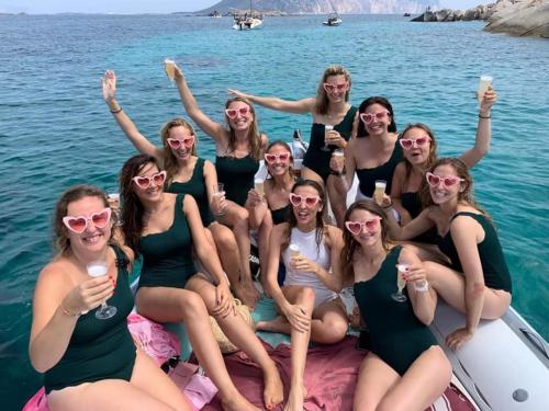 Bachelorette party in a rubber boat
