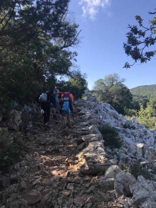 Path to Cala Goloritzè with hikers