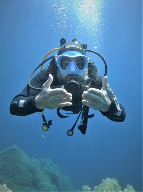 Boy during diving dive