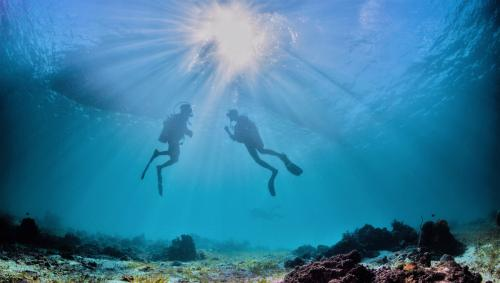 Hikers during diving