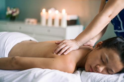 Girl during sensory massage