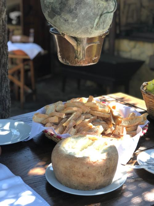 Aperitif with typical Sardinian bread