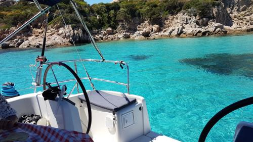 Catamaran docked in Budelli in the La Maddalena Archipelago