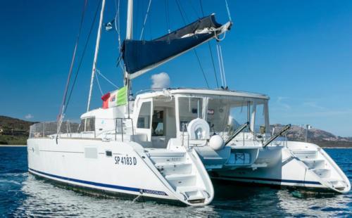 Catamaran in the waters of the La Maddalena Archipelago