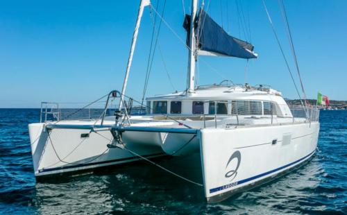 Catamaran sailing in the waters of the La Maddalena Archipelago