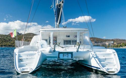 Stern of a catamaran in the waters of the La Maddalena Archipelago