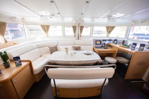 Interior lounge of a catamaran in the waters of the La Maddalena Archipelago