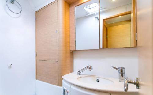 Internal bathroom of a catamaran in the waters of the La Maddalena Archipelago