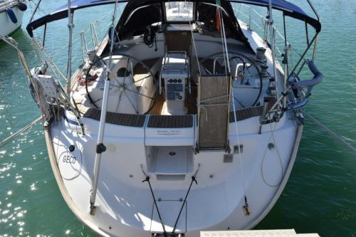 Heck eines Segelboots im Hafen von Palau