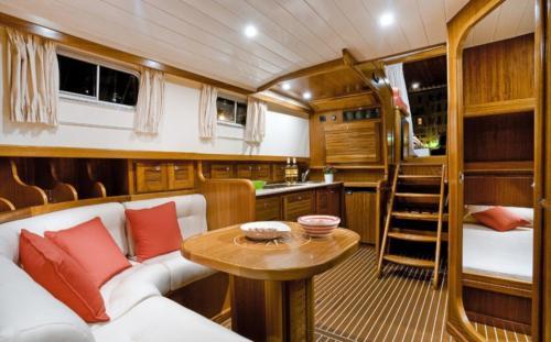 Palau motor boat lounge interior