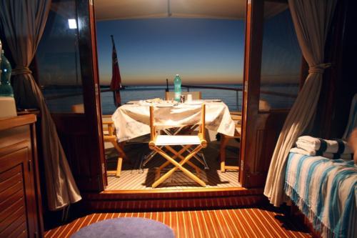 Palau motor boat interior at night