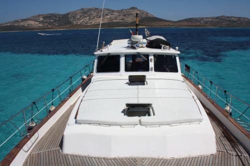 Bow of motor boat in the Archipelago of La Maddalena