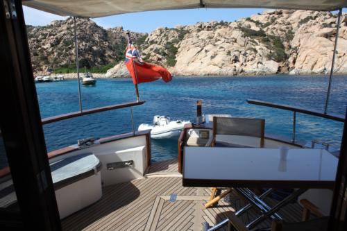 Archipelago view of La Maddalena from a motor boat