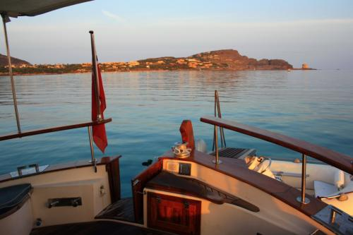 Sunset from a motor boat in the La Maddalena Archipelago
