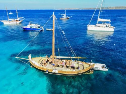 Vintage sailing ship and other boats in the La Maddalena Archipelago