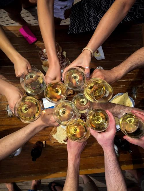 Group of passengers aboard a vintage sailing ship makes a toast with white wine